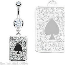 Ace of Spades Poker Card Paved w/ CZ Gems Belly Ring Black Navel Naval (w1035)