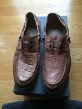 John Varvatos - Sz 8 - Laceless Leather Boat Shoes. Men. Slip On Oxford. Brown.