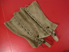 WWII Era US Army M1938 Dismounted OD Canvas Leggins Size 3R - Nice Condition