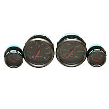 FARIA PEWTER / BLACK 4 PIECE BOAT TACHO / SPEEDO / VOLTS / FUE GAUGE SET