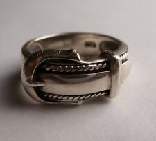 Vintage Sterling Silver Awesome Belt Buckle Ring Size 8