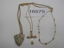 Vintage Jewelry LOT OF 3 Necklaces GOLD TONE CROSS PENDANT 16579