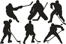 HOCKEY PLAYERS Set Vinyl Wall Decals Boys Room Sports Decor
