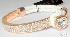 GUESS Jeans Rhinestones  Bangle  Bracelet Rose Gold  Tone Charms Woven NWT