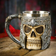3D Striking Warrior Tankard Viking Skull Beer Mug Gothic Helmet Drinkware Vessel