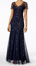 Adrianna Papell New Short-Sleeve Floral Beaded Mermaid Gown Size 10 #EN 886