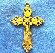 5Pcs. Tibetan Antique Gold CROSS Crucifix Pendants Charms Jewelry Findings CR15