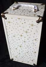 VTG Doll Trunk Metal Travel Case Storage Chest Brass Hardware Handle w/HANGERS