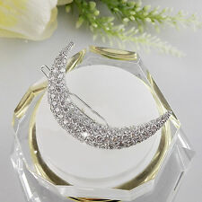 Elegante Kristall Strass Mond Haarspange Haar Clip Hairpin Frauen Haarschmuck