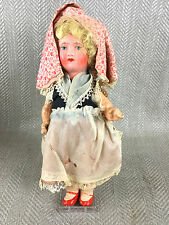 Antique Doll Vintage Paper Mache Hand Painted Cloth Lady Girl Folk German Vtg