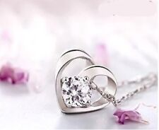 925 Sterling Silver Crystal Cubic Zirconia Heart Pendant Necklace Jewellery
