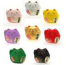 Set of 8 PCS. Japanese Maneki Neko Lucky Fortune Rich Cat Figurine Made in Japan
