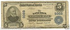 $5.00 1902 National Bank Note Plain Back Ch# 3369 Lincoln, Il.