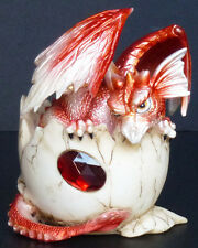 "GARNET JANUARY  Birthstone Dragon in Egg Shell  4""    Figure Statue"
