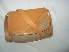 100% Authentic GUCCI Rare Carmel PVC Canvas/Leather Shoulder Bag* Italy X'lent