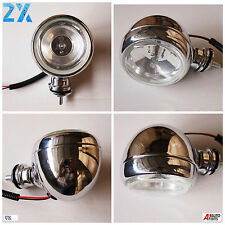 2x Chrome Spot Fog Lights Lamps For Honda Suzuki BMW KTM Motorcycle Scooter ATV