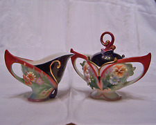 Franz Porcelain Flora and Flutter Sugar n Creamer Set New MIB Ol Store Stock