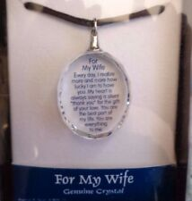 """FOR MY WIFE... MESSAGE BLUE MOUNTAIN CRYSTAL PENDANT NECKLACE 17"""""""