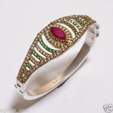 Pink ruby green emerald white topaz turkish bangles bracelets .925 silver 2.5""