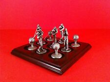 "GOLF PEWTER FIGURINE SET GOLFER LOT GOLF BALL WOOD BOARD 9 FIGURES 2"" GOLF CLUB"