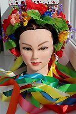 Ukrainian Wreath Ukraine Flower Headdress Head Big lush Hoop with Viburnum berr