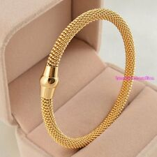 New Fashion Women's Jewelry Stainless Steel Twisted Cable Cuff Bracelet Gold
