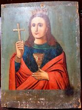 SAINT BARBARA - ANTIQUE OLD RUSSIAN HAND PAINTED WOODEN ICON, 230mm x 170mm