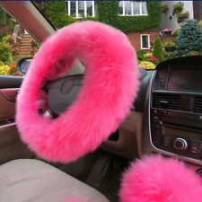 Universal Warm winter Car Woolen Steering Wheel Cover Car Accessory Set Pink New