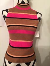 NEW RUE 21 pink Striped M  sleeveless WOMENS BLOUSE Mock turtle neck TANK TOP
