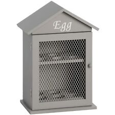 Sturdy Wooden Wood House Hut HEN CHICKEN EGG HOLDER Wall Storage Box in Grey