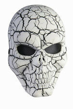 White and Black Cracked Skull Adult Face Mask