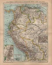 Mapa Map 1899: Columbia, Venezuela, Ecuador, Perú y Bolivia.