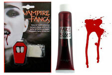 VAMPIRE DRACULA FANGS & FAKE BLOOD SET HALLOWEEN FANCY DRESS VAMPIRE ACCESSORIES
