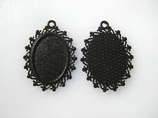 20pcs Black Oval Blank Base Cameo Cabochon Setting Alloy Pendant Trays 18*25mm