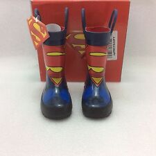 Toddler Boys Western Chief Kids Superman Rain Boots, blue, 6