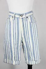 Vintage denim shorts 3/4 25 express striped 90's high waist blue white turn ups