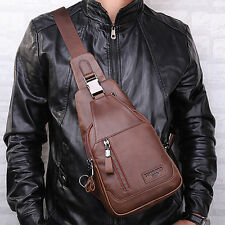 Men's Genuine Leather Crossbody Bag Sling Shoulder Messenger Chest Day Back Pack