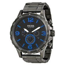 Fossil Nate Chronograph Black Dial Steel Mens Watch JR1478