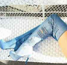 Womens Platform Round Toe High Heel Over the Knee Boots Blue Denim Shoes Y164