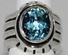 2006 Rare Silpada Blue Topaz Ribbed .925 Sterling Silver Ring Retired R0902 SZ 6