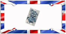 British Union Jack Flag Auto License Plate Frame Gifts Silver Screws England TH