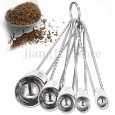 1Set/5pcs Stainless Steel Measuring Spoons Tea Coffee Measure Cooking Scoops