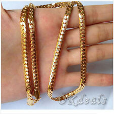 "18k Yellow Gold Filled Mens Necklace 24"" Snake Curb Chain 4MM GF Fashion Jewelry"