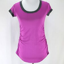 Lilac Clothing Maternity Top Sz L Purple Gray Ruched Stretch Knit Tee Shirt New