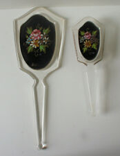 Antique Vintage Lucite Painted Linen Inset Mirror & Brush Vanity Set