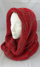Red knit infinity scarf gray hood snood tube two tone acrylic tubular
