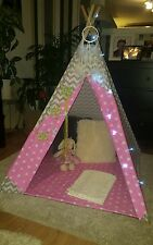 kids childrens hand made Princess pink teepee tipi wigwam tent mat and poles