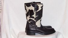 Buttero Mid-Calf Black Cow Print Italian Leather & Pony Hair Boot Size 7.5M