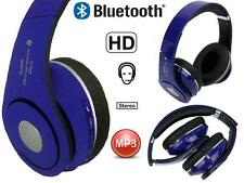 Blue Bluetooth Stereo Wireless Headphones Foldable FM Cordless Headset TF Card