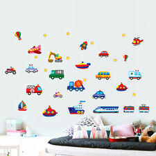 Removable Cartoon Car Train Airplane Wall Sticker for Nursery Kids Room Decal
